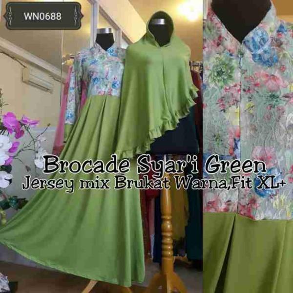 4e477-wn0688-brocade-syari-green@105rb-bahan-jersey-mix-brukat-warna-full-puringp135ld104sleting-busuiall-size-fit-to-xl