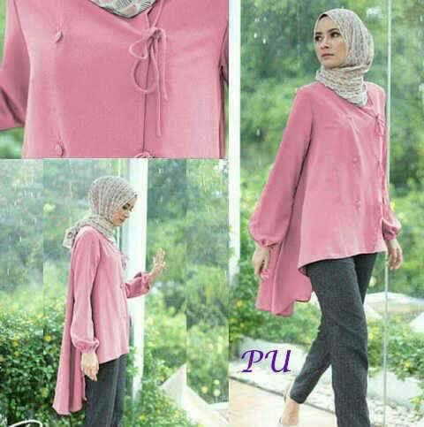 Nadine Blouse Pink Baju Muslim