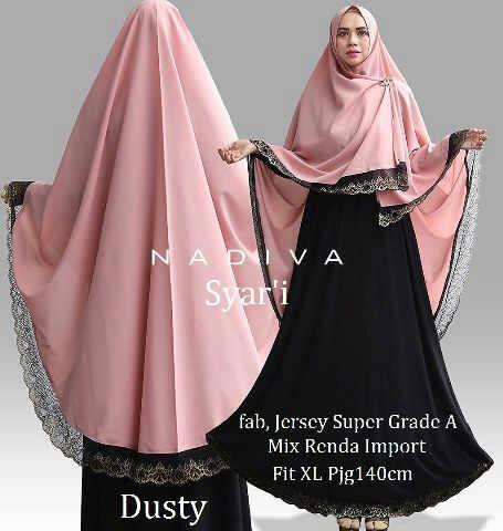 NADIVA Syar'i (Busui) Dusty @145rb,Mtt,Jersey Super Grade A,Mix Renda Import+Bergo Jersey No Pad (High Quality)Fit,to XL Pjg±140cm