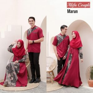 Baju Muslim Couple Alifa Maroon